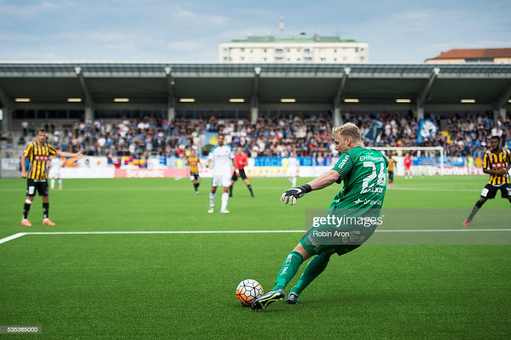 Peter Abrahamsson, goalkeeper of BK Hacken shoots the ball during the Allsvenskan match between BK Hacken and Djurgardens IF at Bravida Arena on May 29, 2016 in Gothenburg, Sweden.