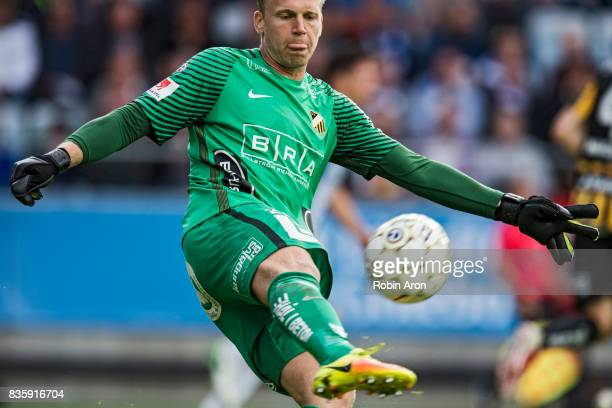 Peter Abrahamsson goalkeeper of BK Hacken shoots the ball during the Allsvenskan match between IFK Goteborg and BK Hacken at Gamla Ullevi on August...
