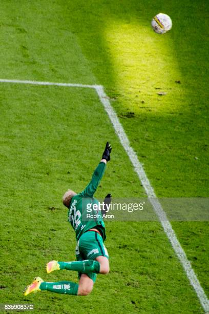 Peter Abrahamsson goalkeeper of BK Hacken throws himself to stop the ball during the Allsvenskan match between IFK Goteborg and BK Hacken at Gamla...