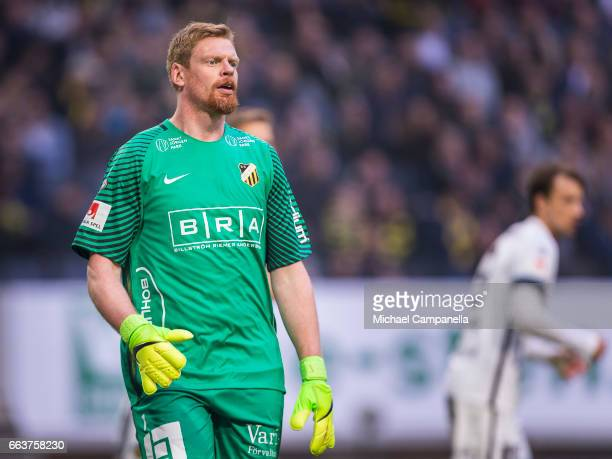 Peter Abrahamsson of BK Hacken during the Allsvenskan match between AIK and BK Hacken at Friends arena on April 2 2017 in Solna Sweden