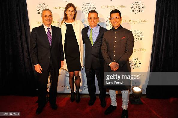 Peter Ackerman Kathryn Bigelow Aaron Lobel and Aamir Kahn attend the 2013 America Abroad Media Awards Dinner at Andrew W Mellon Auditorium on October...