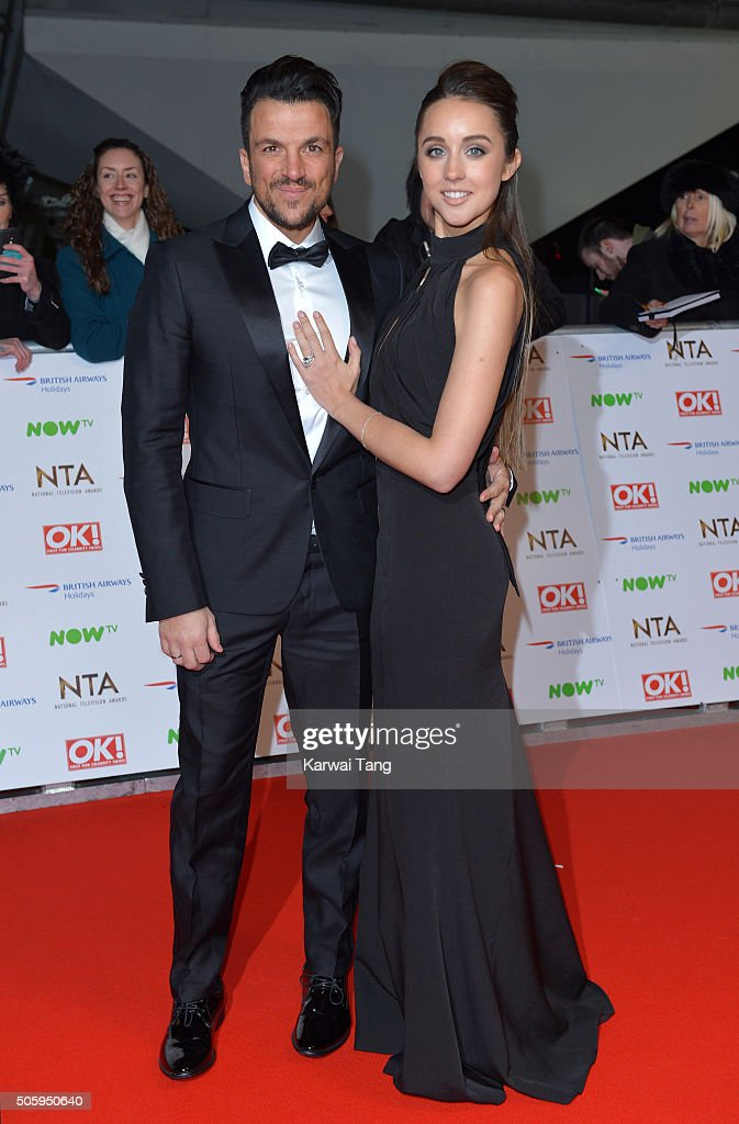 <a gi-track='captionPersonalityLinkClicked' href=/galleries/search?phrase=Peter+Andre&family=editorial&specificpeople=201546 ng-click='$event.stopPropagation()'>Peter Andre</a> and <a gi-track='captionPersonalityLinkClicked' href=/galleries/search?phrase=Emily+MacDonagh&family=editorial&specificpeople=9555202 ng-click='$event.stopPropagation()'>Emily MacDonagh</a> attend the 21st National Television Awards at The O2 Arena on January 20, 2016 in London, England.