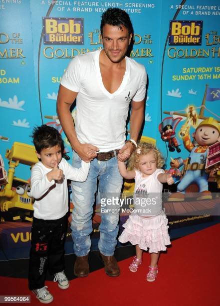 Peter Andre and son Junior and daughter Princess Tiaamii attend the UK film premiere of 'Bob The Builder The Legend Of The Golden Hammer' at Vue...