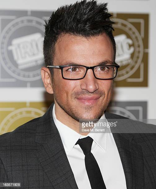 Peter Andre arrives at the TRIC Television and Radio Industries Club Awards at The Grosvenor House Hotel on March 12 2013 in London England