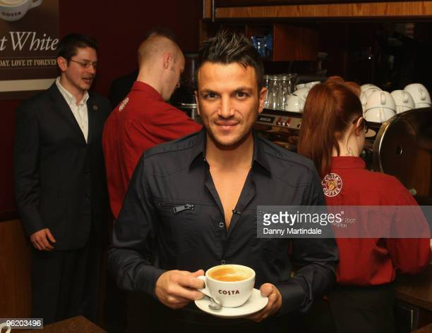 Peter Andre attends a photocall to launch the new Costa Coffee 'Flat White' on January 27 2010 in London England
