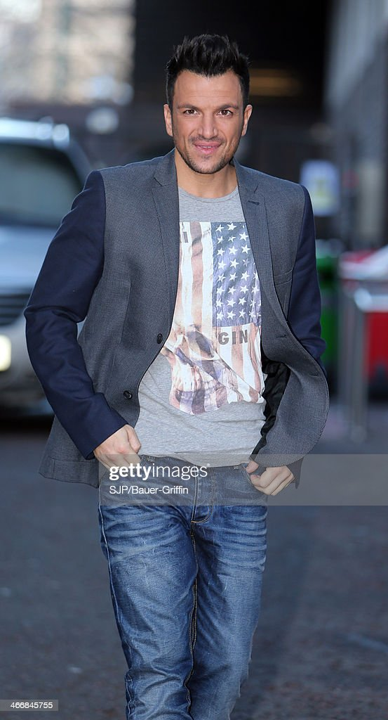 Peter Andre is seen outside the London Studios on February 04, 2014 in London, United Kingdom.