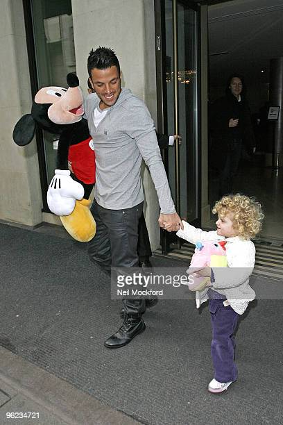 Peter Andre sighted leaving The Mayfair Hotel with his daughter Princess Tiaamii on January 28 2010 in London England