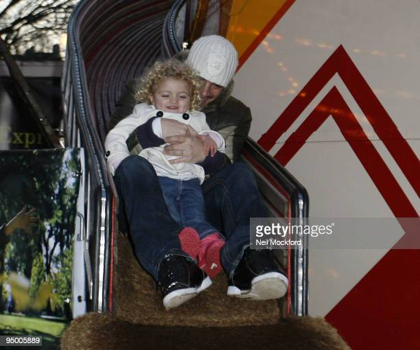 Peter Andre takes his children Junior and Princess Tiaamii at Winter Wonderland in Hyde Park on December 22 2009 in London England