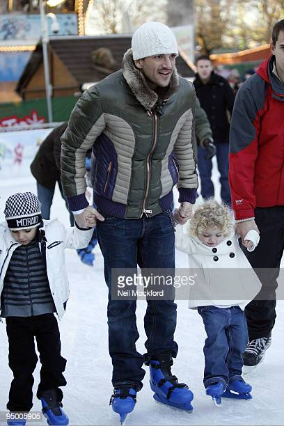 Peter Andre takes his children Junior and Princess Tiaamii IceSkating at Winter Wonderland in Hyde Park on December 22 2009 in London England