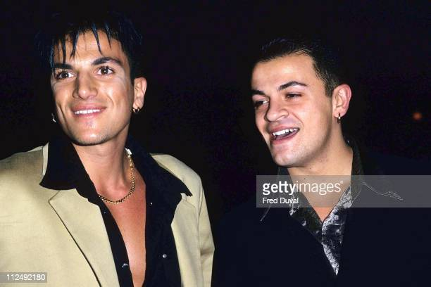 Peter Andre with his brother during David Morris Party February 1 1997 in London Great Britain
