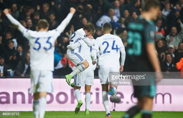 Peter Ankersen and Andreas Cornelius of FC Copenhagen celebrate after scoring their second goal during the UEFA Europa League Round of 16 First Leg...
