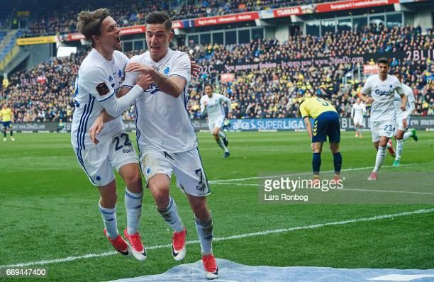 Peter Ankersen and Benjamin Verbic of FC Copenhagen celebrate after scoring their first goal during the Danish Alka Superliga match between Brondby...