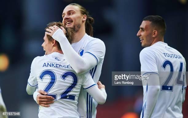 Peter Ankersen and Erik Johansson of FC Copenhagen celebrate after scoring their third goal during the Danish Alka Superliga match between FC...