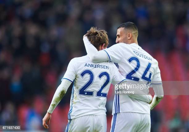 Peter Ankersen and Youssef Toutouh of FC Copenhagen celebrate after scoring their third goal during the Danish Alka Superliga match between FC...