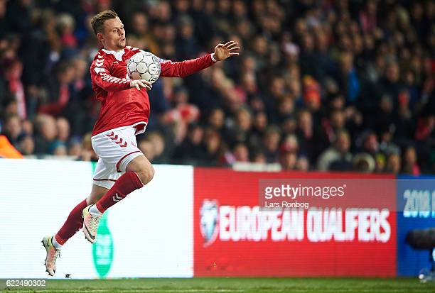 Peter Ankersen of Denmark controls the ball during the FIFA 2018 World Cup Qualifier match between Denmark and Kazakhstan at Telia Parken Stadium on...