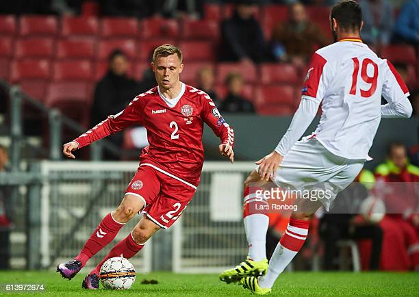 Peter Ankersen of Denmark controls the ball during the FIFA World Cup 2018 european qualifier match between Denmark and Montenegro at Telia Parken...