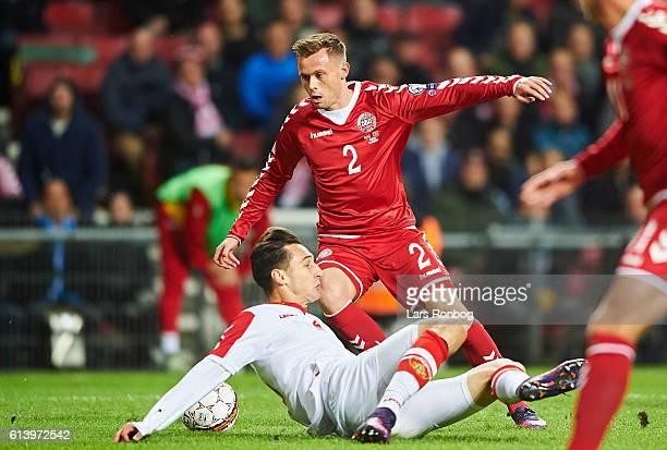 Peter Ankersen of Denmark in action during the FIFA World Cup 2018 european qualifier match between Denmark and Montenegro at Telia Parken Stadium on...