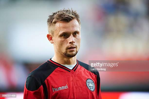 Peter Ankersen of Denmark looks on prior to the international friendly match between Denmark and Liechtenstein at Casa Arena on August 31 2016 in...