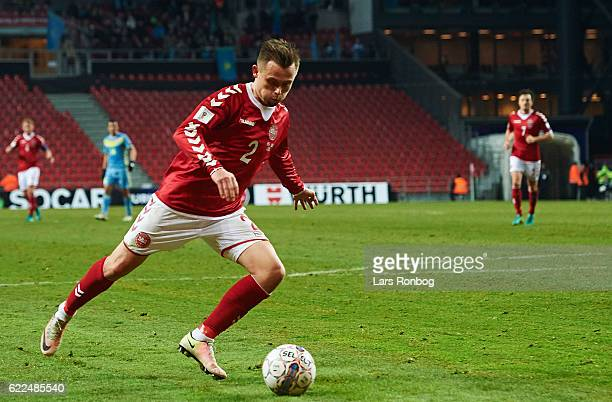 Peter Ankersen of Denmark scores the 31 goal during the FIFA 2018 World Cup Qualifier match between Denmark and Kazakhstan at Telia Parken Stadium on...