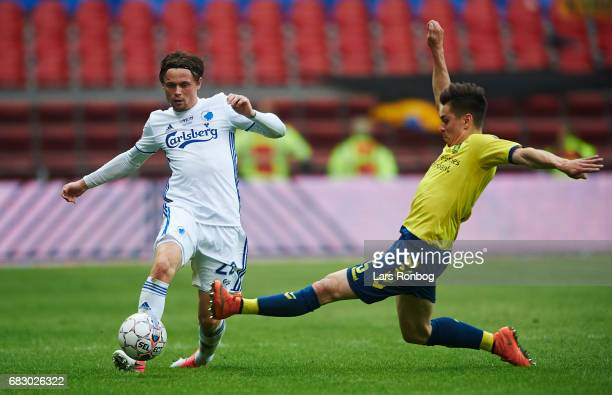 Peter Ankersen of FC Copenhagen and Gregor Sikosek of Brondby IF compete for the ball during the Danish Alka Superliga match between FC Copenhagen...