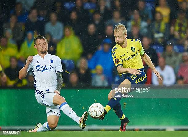Peter Ankersen of FC Copenhagen and Johan Larsson of Brondby IF compete for the ball during the Danish Alka Superliga match between Brondby IF and FC...