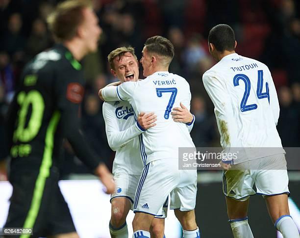 Peter Ankersen of FC Copenhagen and teammates celebrate after his 30 goal during the Danish Alka Superliga match between FC Copenhagen and Viborg FF...