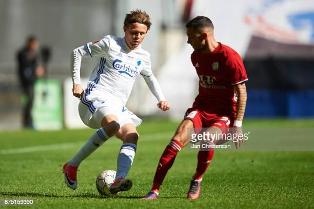 Peter Ankersen of FC Copenhagen compete for the ball during the Danish Alka Superliga match between FC Copenhagen and Lyngby BK at Telia Parken...
