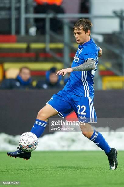 Peter Ankersen of FC Copenhagen controls the ball during the Danish Alka Superliga match between FC Nordsjalland and FC Copenhagen at Right to Dream...