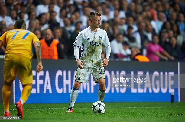 Peter Ankersen of FC Copenhagen controls the ball during the UEFA Champions League playoff 1st leg match between FC Copenhagen and Apoel FC at Telia...