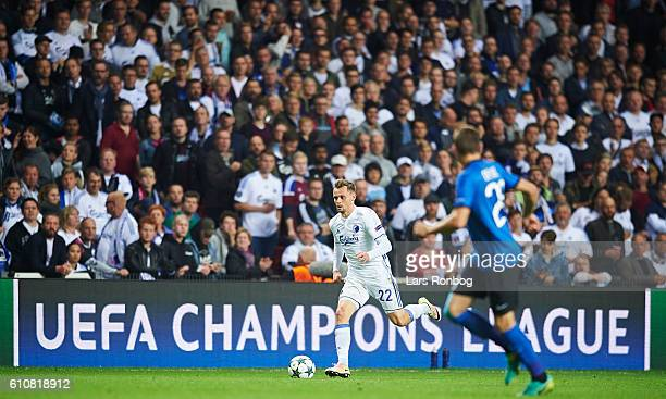 Peter Ankersen of FC Copenhagen controls the ball during the UEFA Champions League match between FC Copenhagen and Club Brugge at Telia Parken...