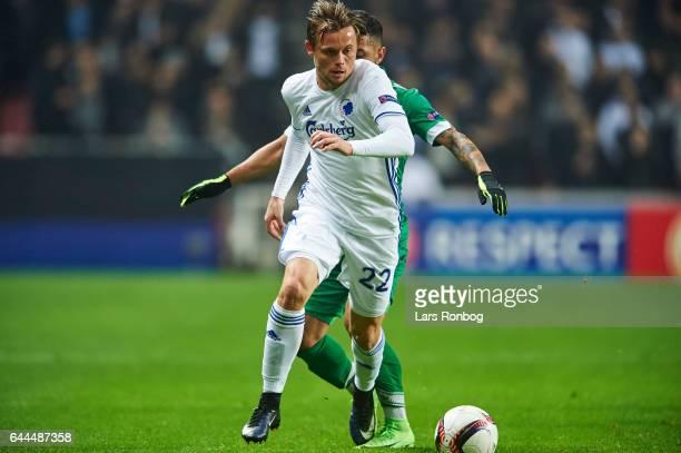 Peter Ankersen of FC Copenhagen controls the ball during the UEFA Europa League Round of 32 second leg match match between FC Copenhagen and PFC...