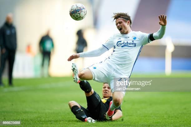 Peter Ankersen of FC Copenhagen get an injury the Danish Alka Superliga match between FC Copenhagen and FC Nordsjalland at Telia Parken Stadium on...