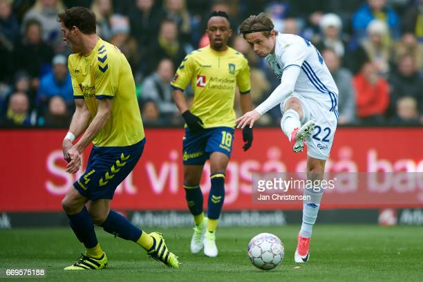 Peter Ankersen of FC Copenhagen in action during the Danish Alka Superliga match between Brondby IF and FC Midtjylland at Brondby Stadion on April 17...