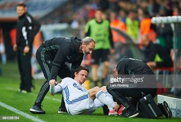 Peter Ankersen of FC Copenhagen leaving the pitch injured during the Danish Alka Superliga match between FC Midtjylland and FC Copenhagen at MCH...