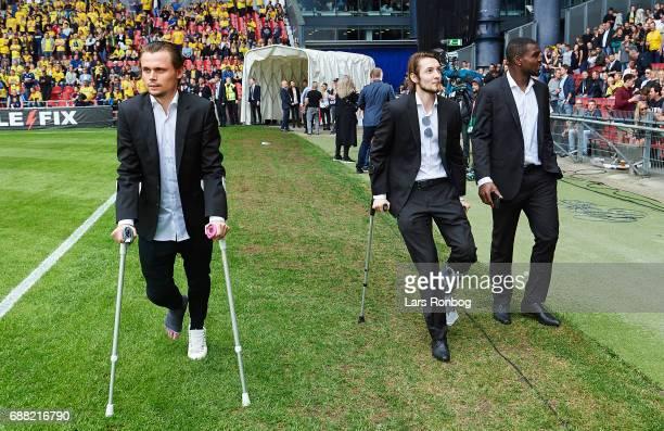 Peter Ankersen Rasmus Falk and Jores Okore of FC Copenhagen walks on the pitch prior to the Danish Cup Final DBU Pokalen match between FC Copenhagen...
