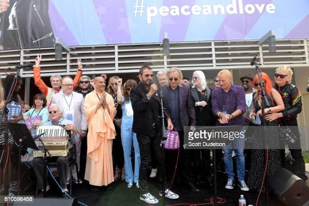Peter Asher Barbara Bach Jim Keltner Jenny Lewis David Lynch Ringo Starr and Edgar Winter Gregg Bissonette and Zak Starkey celebrate Ringo's 77th...