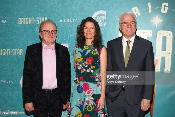 Peter Asher Edie Brickell and Steve Martin attend the opening night of 'Bright Star' at Ahmanson Theatre on October 20 2017 in Los Angeles California