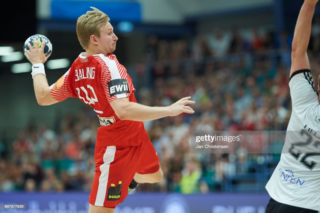 Peter Balling of Denmark in action during the European Championship Croatia 2018 Playoff match between Denmark and Latvia at Sydbank Arena on June 18, 2017 in Kolding, Denmark.