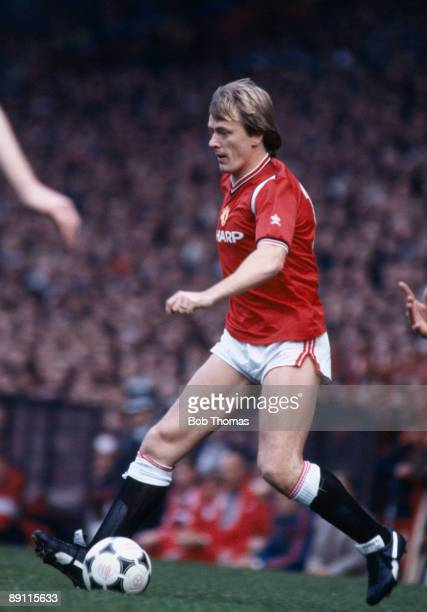 Peter Barnes in action for Manchester United against Liverpool at Old Trafford 19th October 1985 The match ended in a 11 draw