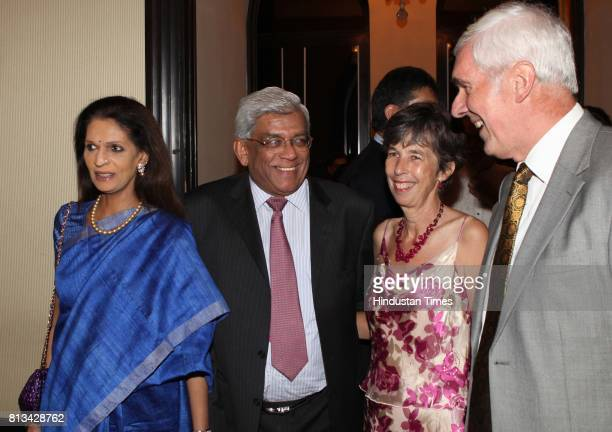 Peter Beckingham and Deepak Parekh at the queen of England party organized by British council to mark the queens birthday at Taj on Thursday