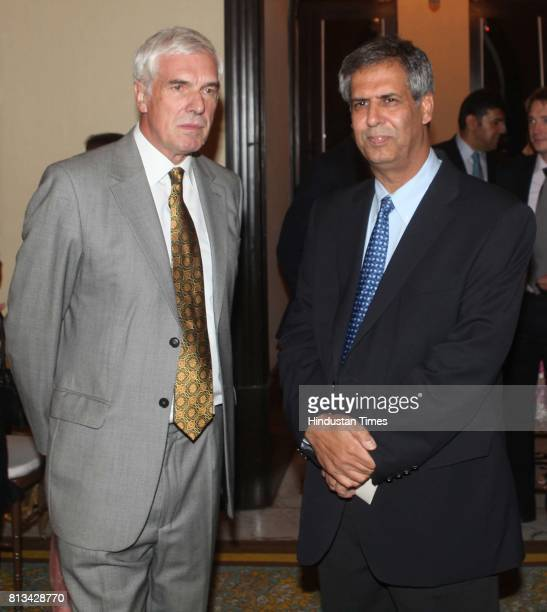 Peter Beckingham and Noel Tata at the queen of England party organized by British council to mark the queens birthday at Taj on Thursday
