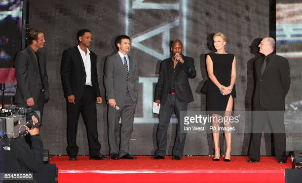 Peter Berg Will Smith Jason Bateman DJ Spoony and Charlize Theron during the UK Film Premiere of Hancock at the Vue West End London