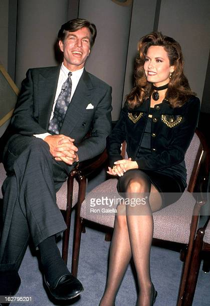 Peter Bergman and Tracey Brecht attend the taping of 'The Donohue Show' on May 24 1993 at NBC Studios in New York City