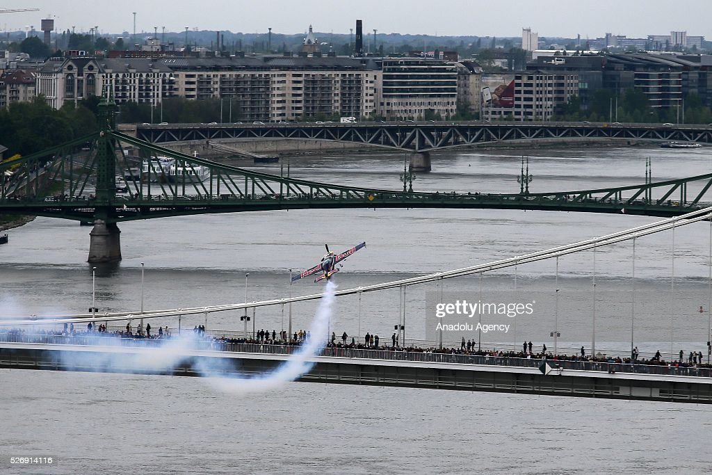 Peter Besenyei of Hungary performs in his airplane during an air show in Budapest, Hungary on May 1, 2016