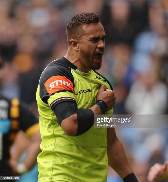 Peter Betham celebrates after scoring their first try during the Aviva Premiership semi final match between Wasps and Leicester Tigers at The Ricoh...