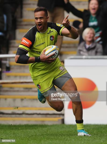 Peter Betham of Leicester celebrates after scoring their first try during the Aviva Premiership semi final match between Wasps and Leicester Tigers...
