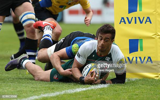 Peter Betham of Leicester dives over for a try during the Aviva Premiership match between Bath and Leicester Tigers at the Recreation Ground on May 7...