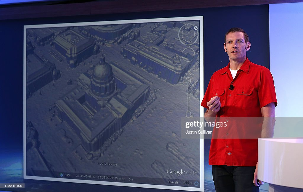 Peter Birch, Google Product Manager for Google Earth, shows an image of new 3D map rendering during a news conference about Google Maps on June 6, 2012 in San Francisco, California. Google announced new upgrades to Google maps including a feature to download maps and view offline, better 3D mapping and a backpack camera backpack camera device called Trekker that will allow Street View to go offroad on hiking trails and places only accessible by foot.