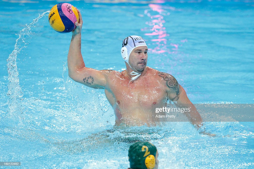 Peter Biros of Hungary throws the ball in the Men's Water Polo Semifinal 5-8 match between Hungary and Australia on Day 14 of the London 2012 Olympic Games at the Water Polo Arena on August 10, 2012 in London, England.
