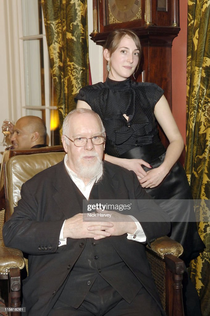 Peter Blake and Poppy de Villeneuve during Harpers Bazaar Party in London April 21 2006 at Dover Street Arts Club in London Great Britain
